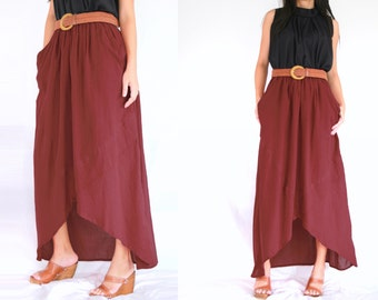 SALE - Maxi Skirt / Long Skirt / Dark Red Skirt / Red Skirt - Unique High Low Skirt with pockets - SK003