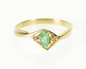 10k Emerald Marquise Diamond Accented Pointed Bypass Ring Gold