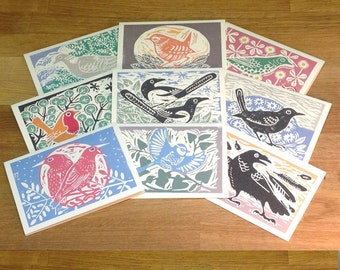 Set of 9 greetings cards featuring native british birds.