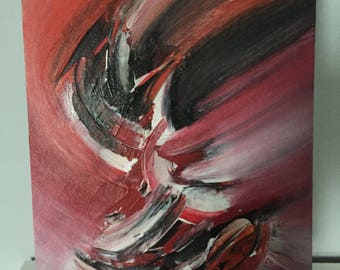 Abstract Acrylic Painting, Original Canvas Art, Textured Painting 8x10, Red, Black and White