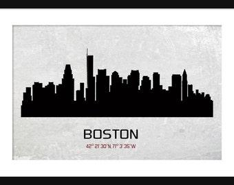 Boston Skyline Silhouette Grunge Print Poster Map