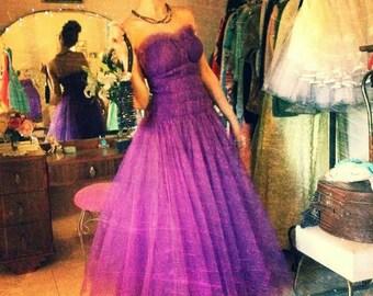 ON SALE  Vintage 1950's Emma Domb Vivid Purple Tulle  Party / Prom Dress, Small