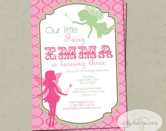 Pink & Green Fairy Invitation | Fairy Princess, Fairy Birthday, Girls Birthday, Pixies, Pink, Green | PDF Instant Download
