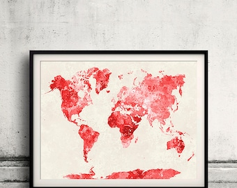 Red world map etsy world map in red watercolor instant download 8x10 inches poster wall art illustration print art decorative gumiabroncs Gallery