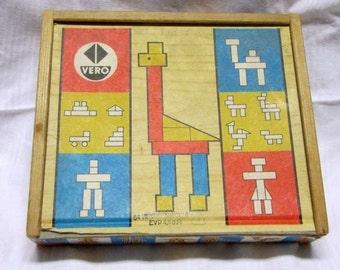 Wooden kit of VERO. Blocks building blocks wooden toy building toy block box modular building blocks. Around 1960 / 70. VINTAGE