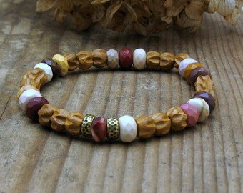 Carved Sandalwood Natural Mookaite Modern Beaded Bracelet, Neutral Natural Stretch Bracelet, For her Under 100