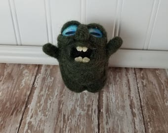 Adorable Needle Felted Wool Toothy Monster- Crazy eye, Dark Green
