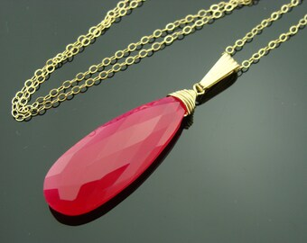 Hot Pink Chalcedony 14k Gold Filled Gemstone Pendant Necklace
