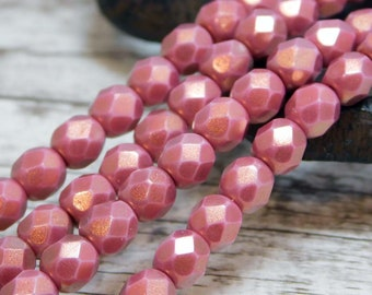 6mm - Czech Glass Beads - Fire Polished Beads - Round Beads - 6mm Firepolish - Pink Beads - Cherub Halo Ethereal - 25pcs (5723)