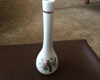 """Japanese Porcelain Bud Vase 7"""" Gold Rims/Birds/Flora Design"""