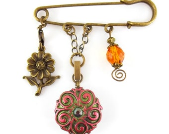 Kilt Sweater Pin with Snap Base for Interchangeable Designs - Antique Bronze