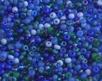 Perles de rocaille bleu Mix mer taille 11 / / assorties bleu et vert perles 11/0