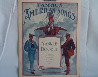 Vintage Sheet Music Patiotic Songs Yankee Doodle