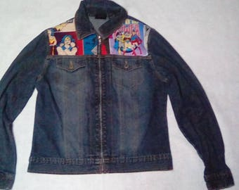 Refashioned Female Superhero Denim Jacket