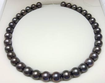 Tahitian Pearl Necklace, Round shape, 11-13mm, Purple Brownish colour.