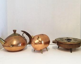 Set 3 Vintage Cooper Wood Brass Candle Holder, Piggy Bank, Tea Kettle Teapot