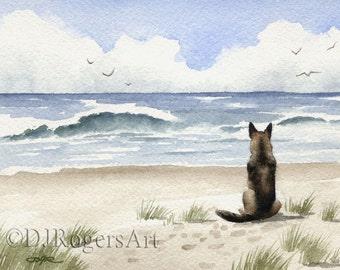 GERMAN SHEPHERD Art Print Signed by Watercolor Artist DJ Rogers