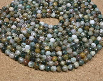 Ocean Jasper Round Beads - Multicolored Smooth Natural Stone Beads, 6mm