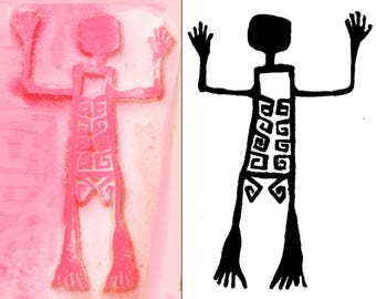 Petroglyph Rock Art Skeleton Man Southwest Design Stamp PMC Ceramic Polymer Clay - ScrapBooking & Textile - Southwest Skeleton Rubber Stamp