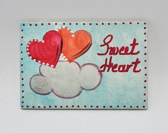 Magnetic for fridge-signs-hand painting-handmade-acrylic colors-hagiography powder-spray-mdf-wood-hearts-clouds-sweat heart