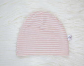 Pink and White Skinny Stripe Baby Hat | Cuffed Hat | Slouchy Hat | Baby, Toddler Beanie | Slouchy Beanie | Hospital Hat | Baby Shower Gift