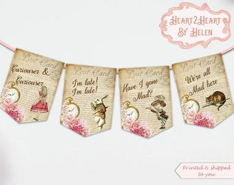Alice in Wonderland Bunting, Alice Quote Banner, Tea Party Banner, Wonderland Bunting, Mad Hatter Tea Party , Birthday, Decoration