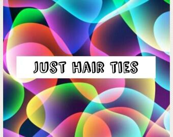 Just hair ties , fold over elastic ties , girl Party Favors, fun Party Favors ,Favors, Tween Party Favor, Party hair tie favors,FOE hair tie