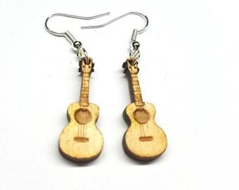 Ukelele Dangle Earrings | Laser Cut Jewelry | Hypoallergenic Hook Dangle Earrings | Wood Earrings