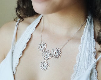 Sterling Silver Round Lace Bib Necklace - Wedding Bridal Jewelry, Statement Necklace, Delicate Intricate Design, Gold Available