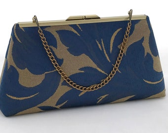 Navy and Gold Evening Handbag Purse ~ Gold and Navy Bridesmaid Purse Clutch ~ Navy and Gold Bridesmaid Clutch