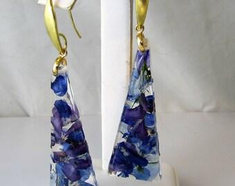 Glorious Purples,  Real Flower Earrings, Pressed Flower Jewelry,  Resin (3016)
