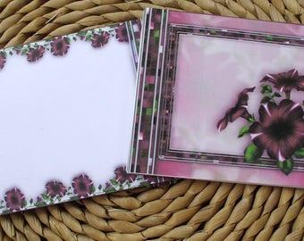 Burgundy Petunias Blank Notecards Set of 12 With Matching Envelopes