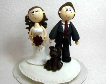Wedding cake topper, custom wedding cake topper with dog