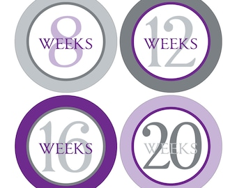 12 Weekly Pregnancy Mama-to-be Maternity Waterproof Glossy Stickers  - Monthly stickers available - Design W005-02