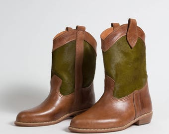 Boots Amazon Havana green - handcrafted - women's genuine leather - (PV REF.)