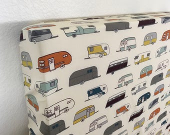 Organic Crib Sheet, Changing Pad Cover, Camper Rally, Camp Sur,Feather River, Camping Themed Nursery, Birch Organic Fabric, Nursery Bedding,