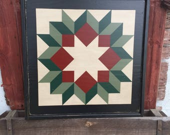 PriMiTiVe Hand-Painted Barn Quilt, Small Frame 2' x 2' - Dutch Rose Pattern