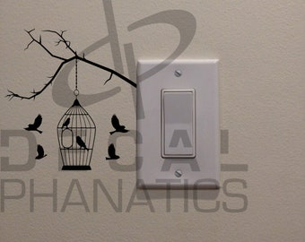 """Birds Flying Around Cage, Perched on a Tree Branch on Light Switch - (4.6"""" x 5"""") - Bedroom/Home Decor Decal"""