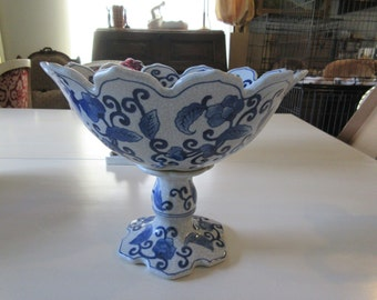 CHINA BLUE and White Compote Centerpiece