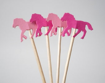 Mixed Pink Horse Party Picks, Cupcake Toppers, Food Picks, Toothpicks, Drink Picks - No1028