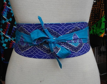 Reversible Obi Belt in Wax Block Ankara Cotton