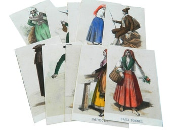 Antique costume prints, set of 10 French colorful lithos with 19th century folk traditional costumes from the Pyrenees mountains