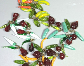 Lampwork Glass Food Charms, Vegetable Charms, Lampwork Glass Beads  (2 sets of 3 beads)