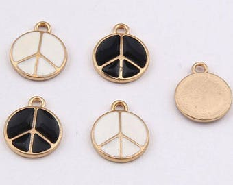 10PCS -Peace Sign Charms -Symbol Charm -Enamel Charm -Bracelet Charm -Craft Supplies -Gold Plated Charm -DIY Findings -2 Colors