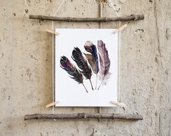 Feather print, feather Art, boho wall art, Feather Printable, printable art, tribal wall art, feather nursery, gallery wall print