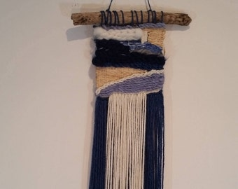 SALE: Handmade Wall Hanging Weaving in Blues and Neutral Tones