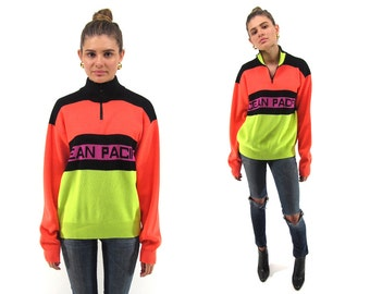 Vintage 80s Neon Color-Block Jumper, Oversized, Boyfriend, Surf, Skater, Neon Sweater Δ fits sizes: sm / md / lg