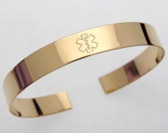 Gold ID Medical Cuff Bracelet, Custom Medical Alert Bracelet Hidden Message Engraved,Personalized Medical ID Jewelry, Allergy Alert,Diabetic