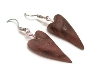 wooden jewelry,  heart earrings, rustic jewellery, walnut earrings, for her, salvaged earrings