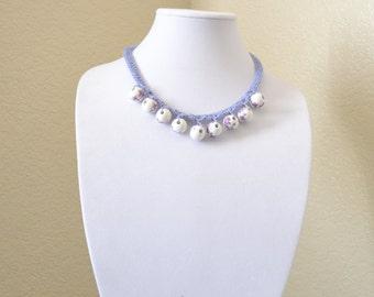 Lilac crochet statement necklace